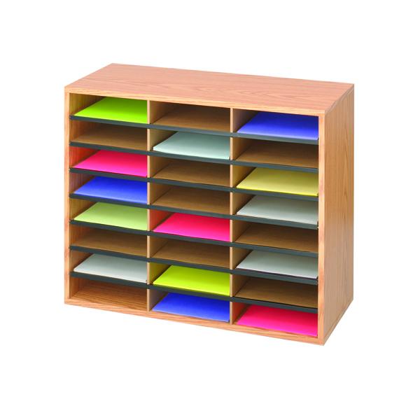 Safco Oak 24 Compartment Literature Organiser 9402MO