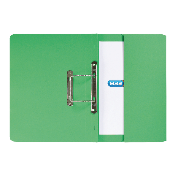 Elba Strongline Foolscap Green Spring Pocket File (25 Pack) 100090147