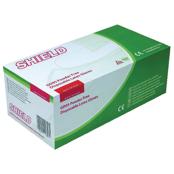 Shield P/F Latex Gloves Medium (Pack of 1000) HEA00399