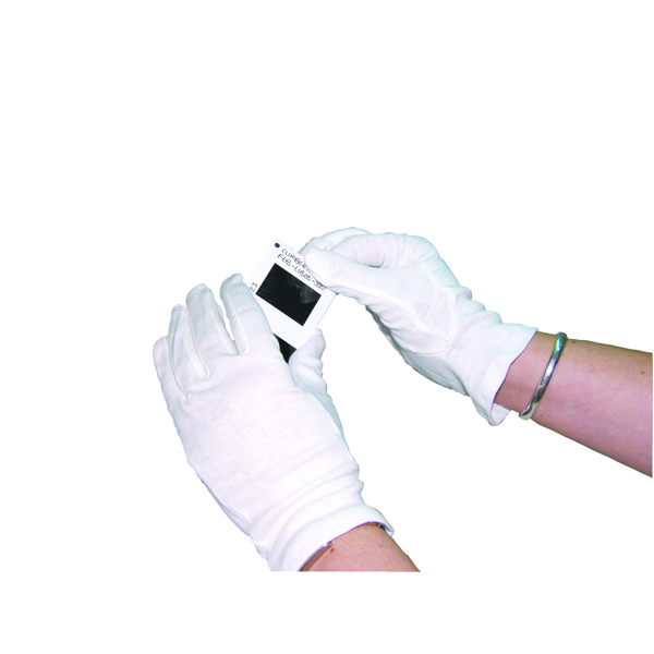 White Knitted Cotton Medium Gloves (10 Pack) GI/NCWO