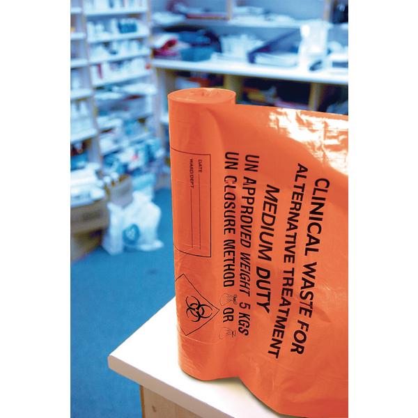 Clinical Waste Sack For Alternative Treatment Medium Duty 5kg Capacity Orange AT25/M111