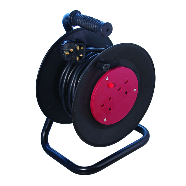 Heavy Duty 2-Way 10 Amp Extension Reel 25m Black WCR252/CHT2513