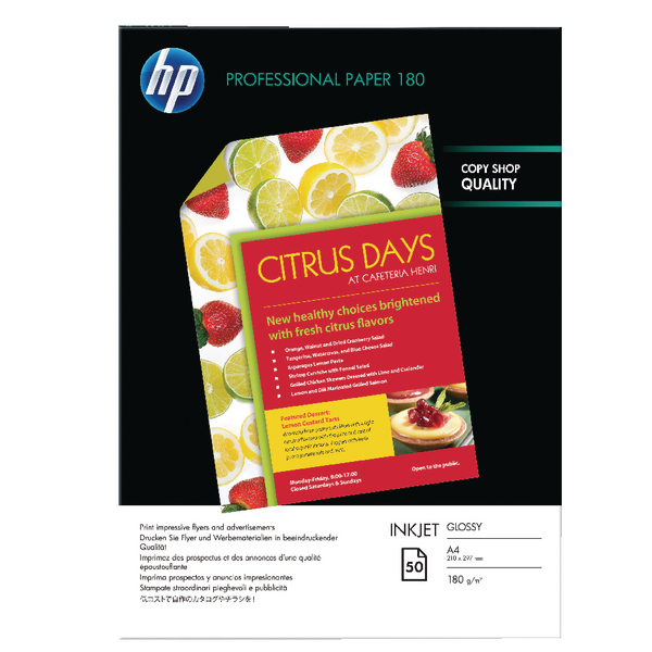 HP A4 White Professional Glossy Inkjet Paper 180gsm (Pack of 50) C6818A