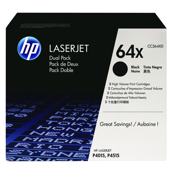 HP 64X Black High Yield Laserjet Toner Cartridge (Pack of 2) CC364XD