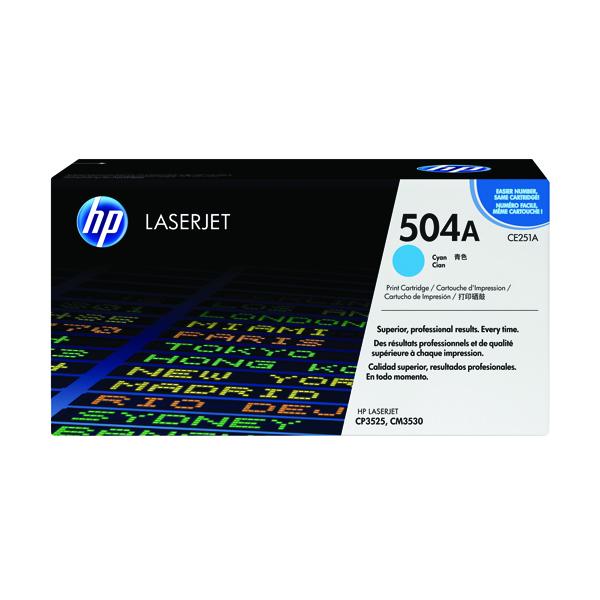 HP 504A Cyan LaserJet Toner Cartridge CE251A