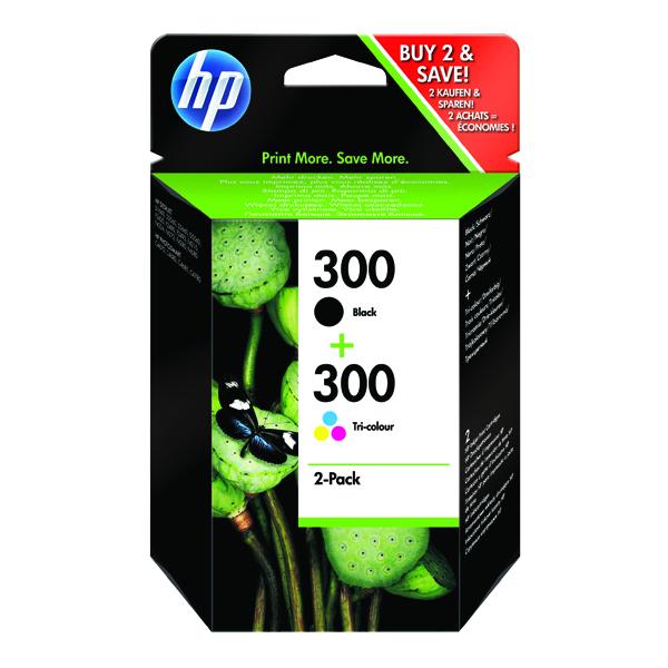 HP 300 Black/Cyan/Magenta/Yellow Inkjet Cartridge (2 Pack) CN637EE