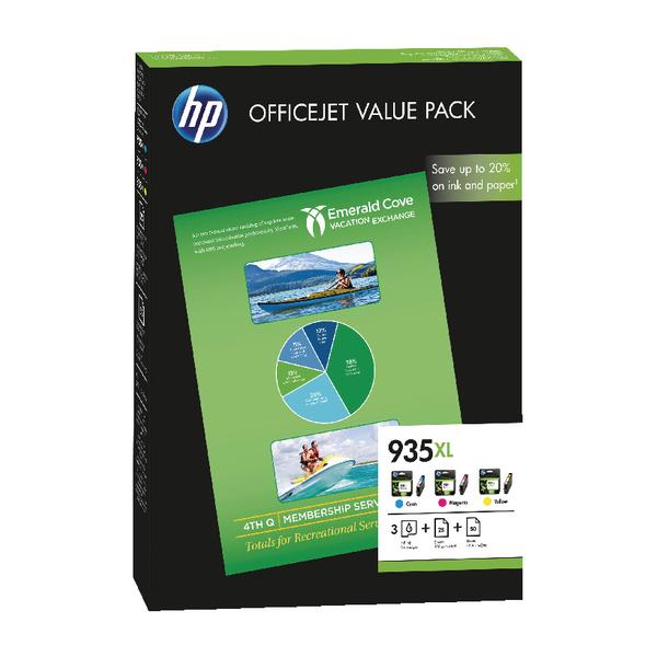 HP 935XL Cyan/Magenta/Yellow Ink Cartridge and Paper (Pack of 4) F6U78AE