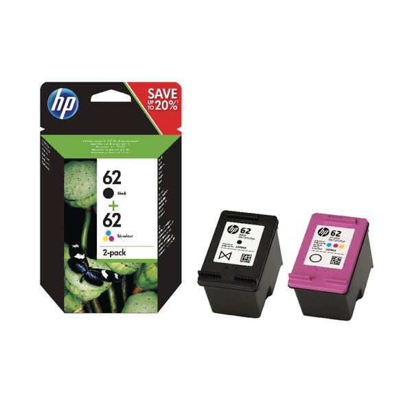 HP 62 Black/Colour Ink Cartridges (2 Pack) N9J71AE