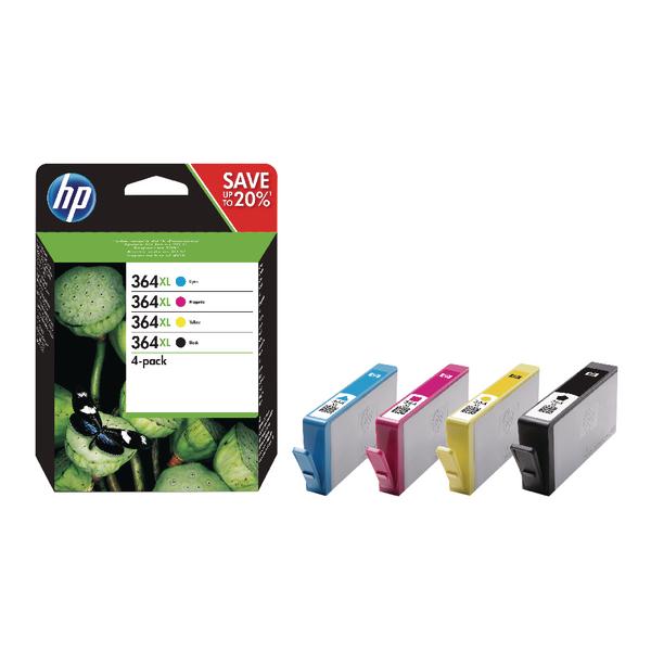 HP 364XL Cyan/Magenta/Yellow/Black Ink Cartridges High Yield Combo 4-Pack N9J73AE