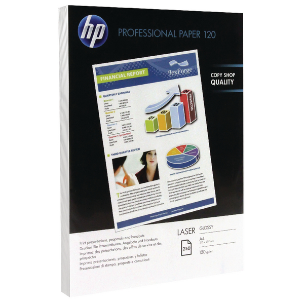 HP A4 White Professional Glossy Laser Paper 130gsm (Pack of 250) CG964A