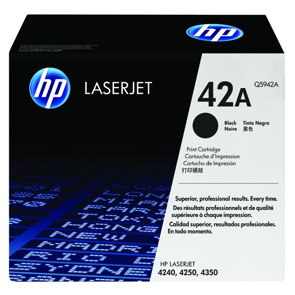 Hewlett Packard No42A LaserJet Toner Cartridge Black Q5942A