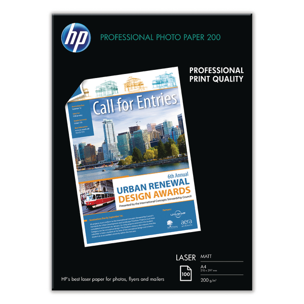 Hewlett Packard Laser Photo Paper Matt A4 White Pack of 100 Q6550A