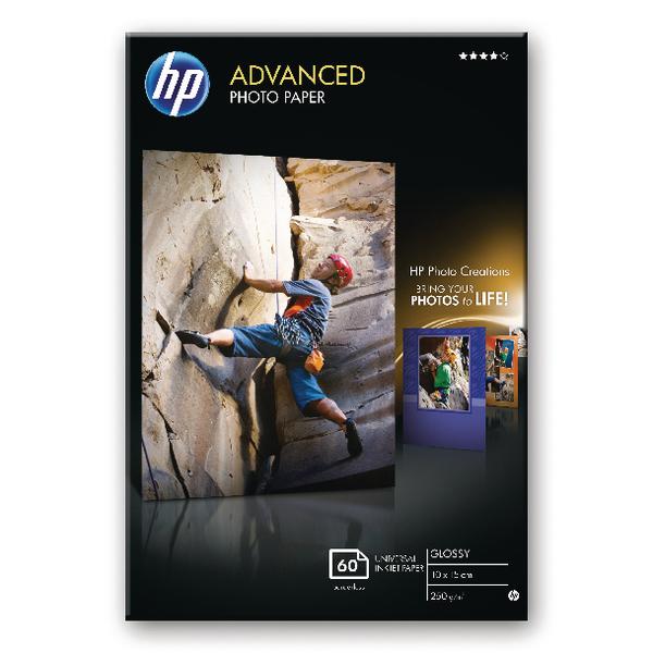 Hewlett Packard Advanced Glossy Photo Paper 250gsm 10x15cm Borderless Pack of 25 Q8691A