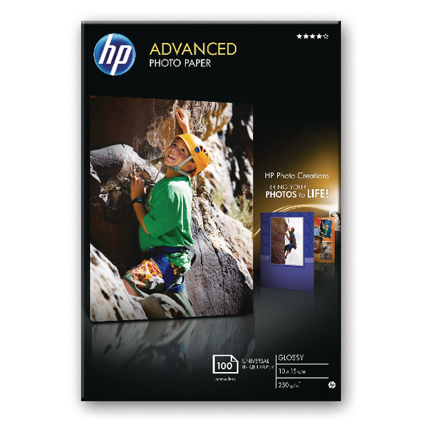 HP White 10x15 Advanced Glossy Photo Paper250gsm (100 Pack) Q8692A