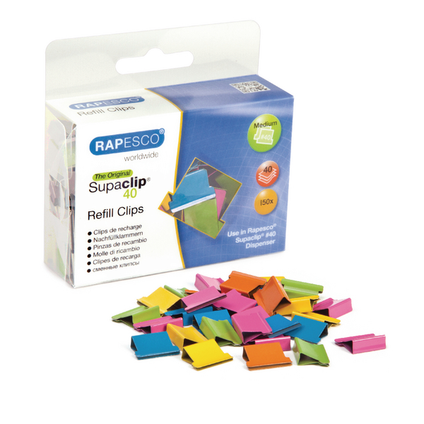 Rapesco Supaclip 40 Multi Coloured Refill Clips (Pack of 150) CP15040M
