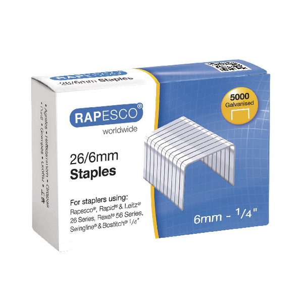 Rapesco 6mm 26/6 Staples (Pack of 5000) S11662Z3