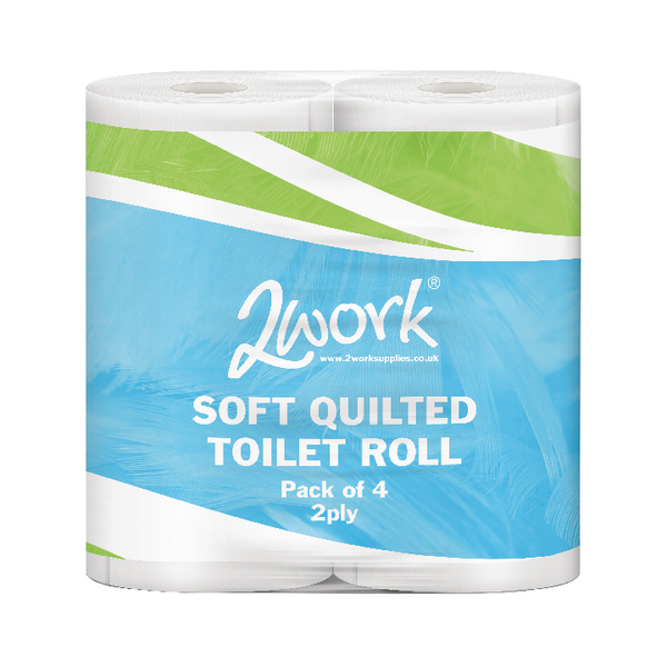 2Work Luxury Wht 2-Ply Quilt Toilet Roll