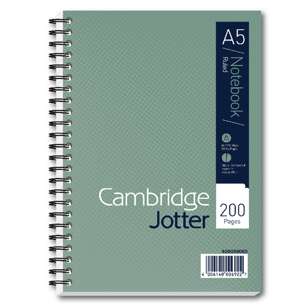 Cambridge A5 Wirebound Notebook Ruled 200 Pages Pack of 3 400039063
