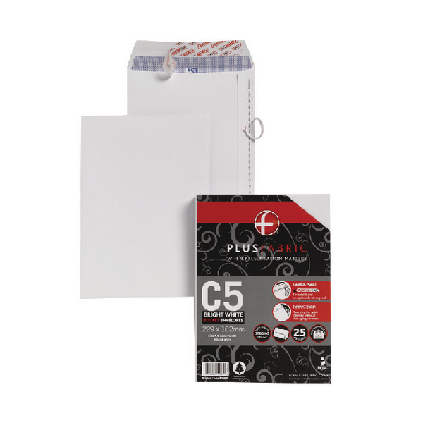 Image for Plus Fabric C5 Envelope Peel and Seal 110gsm White (Pack of 25) R10005