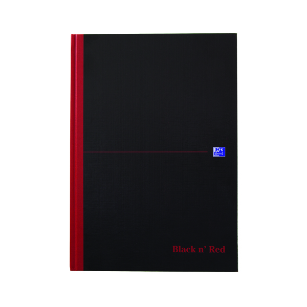 Black n Red A4 Casebound Hardback Notebook Smart Ruled 100080428