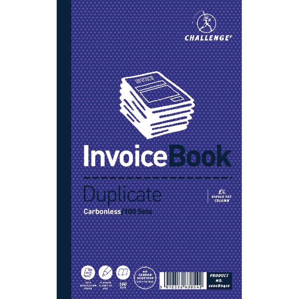 Challenge Duplicate Invoice Single VAT Column Book Carbonless 100 Sets 210 x 130mm (5 Pack) 100080412