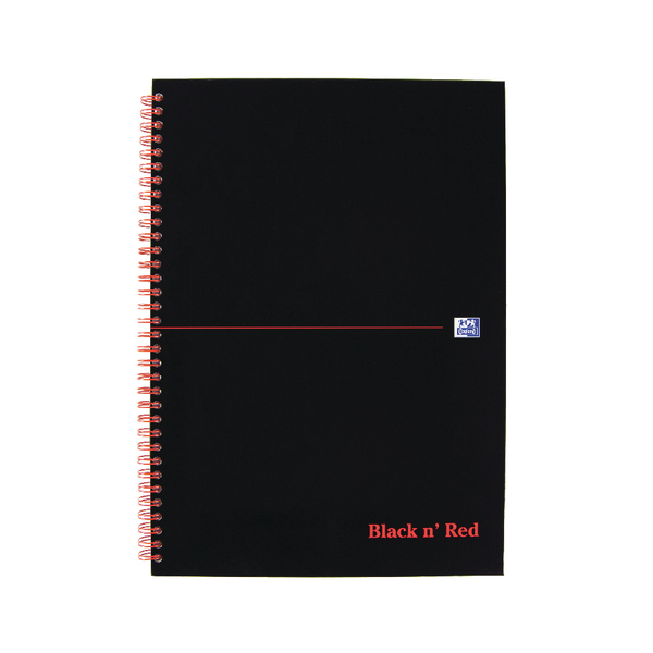 Black n Red A4 Wirebound Hardback Notebook Ruled (5 Pack) 846350115