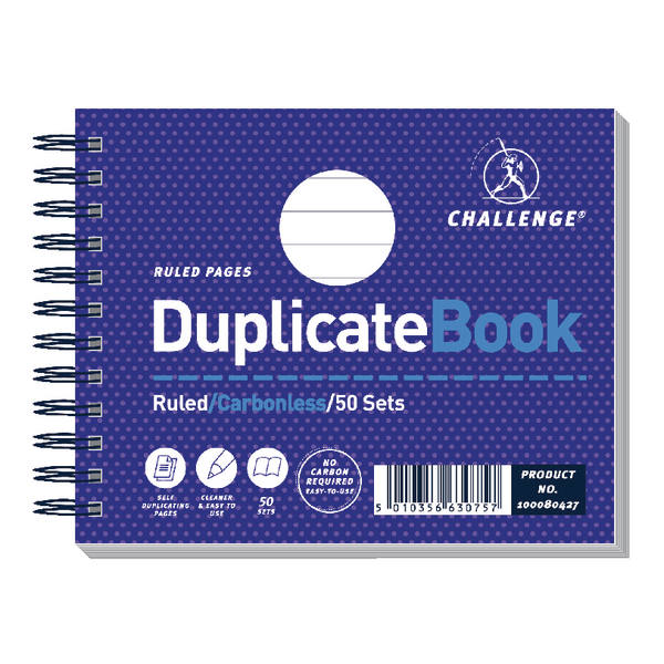 Image for Challenge Carbonless Duplicate Book 105x130mm Ruled Feint 100080427