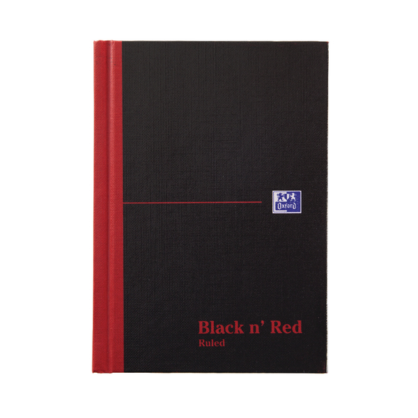 Black n Red A6 Casebound Hardback Notebook 192 Pages Pack of 5 100080429