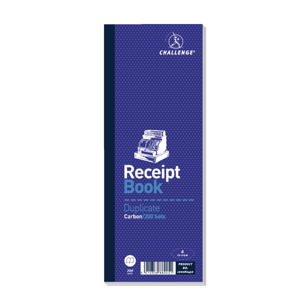 Challenge Duplicate Receipt Book Carbonless 200 Sets 241 x 92mm Pack of 10 100080450