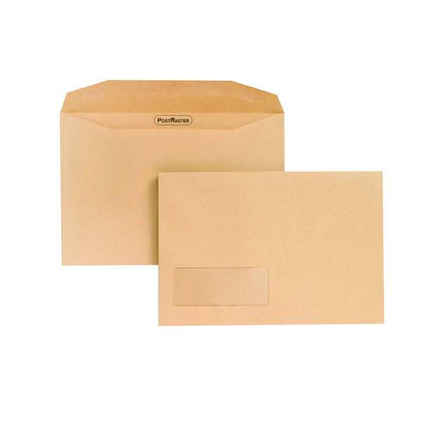 Postmaster Envelope Low Window 162x238mm 80gsm Gummed Manilla (Pack of 500) F24756
