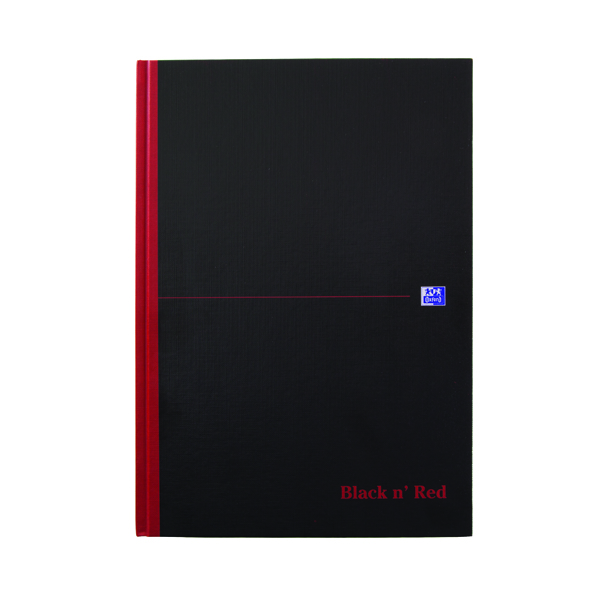 Black n Red A4 Casebound Hardback Notebook Ruled 100080473