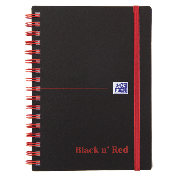 Black n Red A6 Wirebound Polypropylene Notebook 140 Pages Ruled Pack of 5 100080476