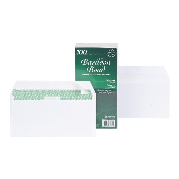 Image for Basildon Bond DL Envelopes Peel and Seal 100gsm White (Pack of 100) F80275