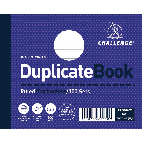 Challenge Duplicate Book Ruled Carbonless 100 Sets 105 x 130mm (5 Pack) 100080487