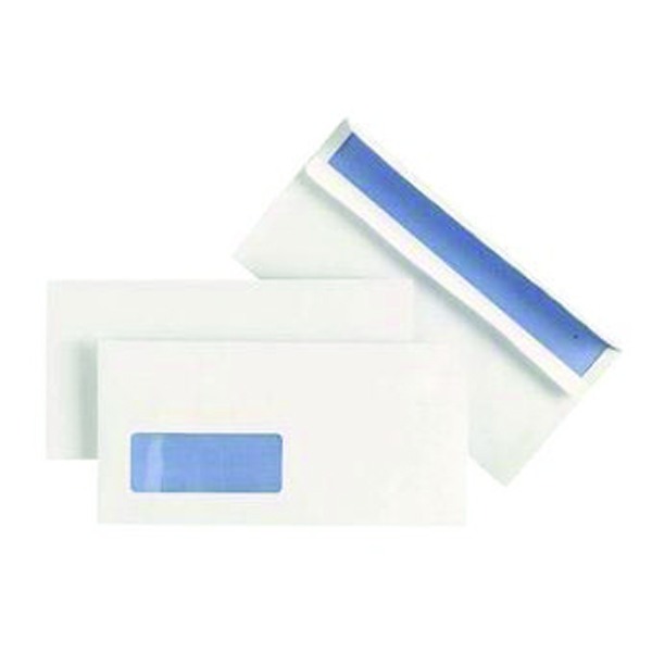 Image for Plus Fabric DL Window Envelopes 110gsm Wallet Self Seal White (Pack of 500) J22370