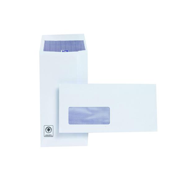 Plus Fabric DL Window Envelopes 110gsm Self Seal Pocket White (Pack of 500) J26670