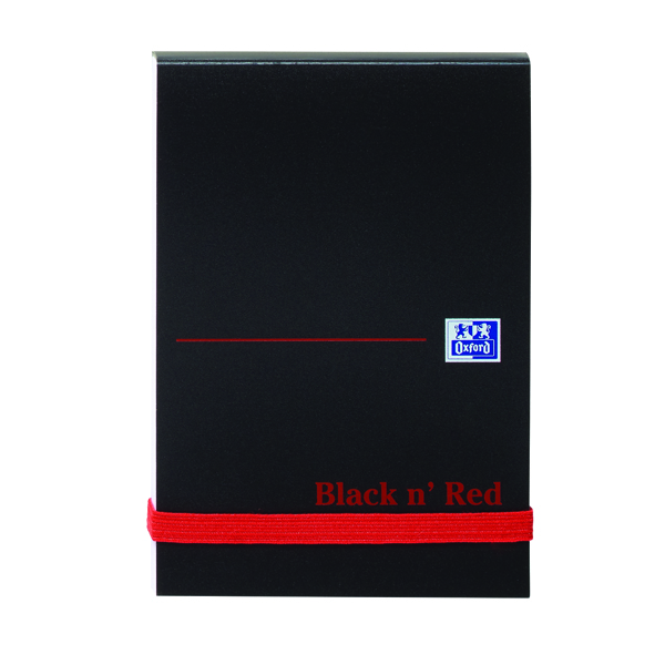 Black n Red A7 Casebound Elasticated Notebook 192 Pages Plain Pack of 10 100080540