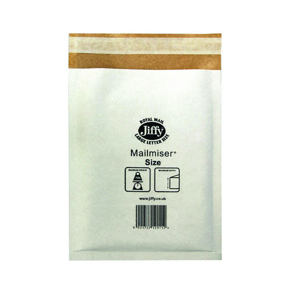 Jiffy Mailmiser Size 00 115x195mm White (Pack of 100) Jmm-WH-00