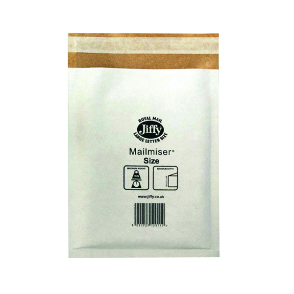Jiffy Size 3 220 x 320mm White Mailmiser (50 Pack) JMM-WH-3