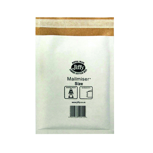 Jiffy Size 5 260 x 345mm White Mailmiser (50 Pack) JMM-WH-5