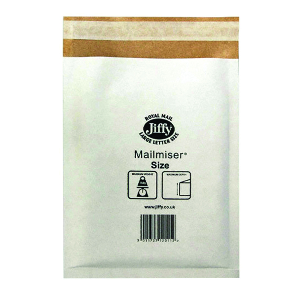 Jiffy 260x345mm White Mailmiser Size 5 (5 Pack) 2221