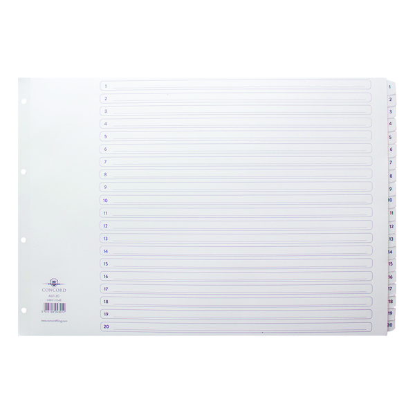Concord Classic Index A3 1-20 White Board With Clear Mylar Tabs 04801/Cs48