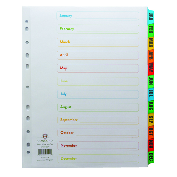 Concord January-December A4 Extra-Wide White With Multi-Colour Index Tabs 07901/CS79