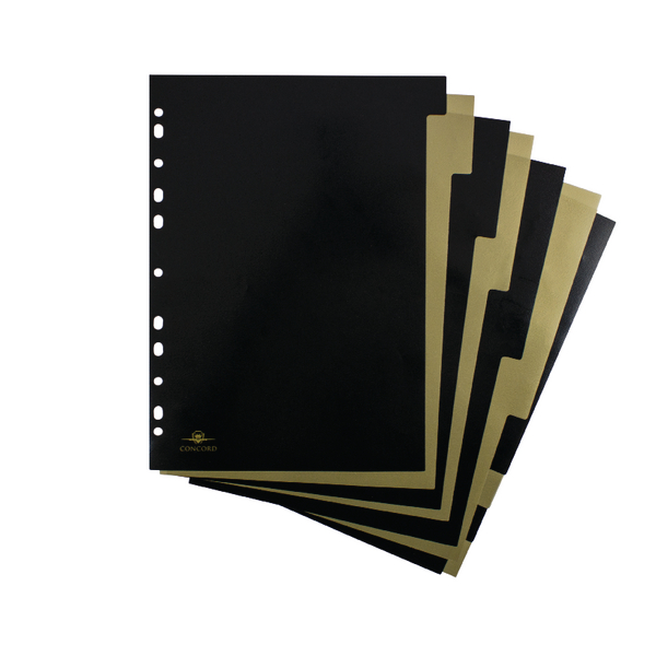 Concord Noir 10 Part Divider Black and Gold A4 7738-NOI
