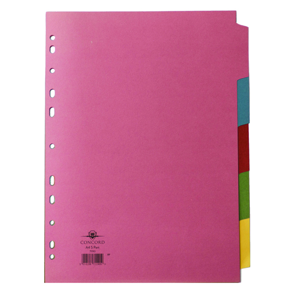 Concord Pastel A4 5-Part Subject Divider (5 Pack) 71190