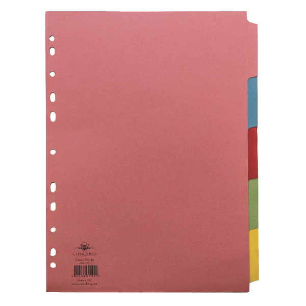 Concord Pastel A4 5-Part Subject Dividers (1 Set of 5) 71199/J11