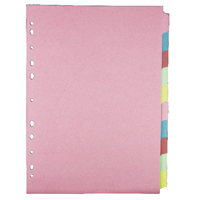 Concord Pastel A4 10-Part Subject Divider (Pack of 5) 72090/J20M