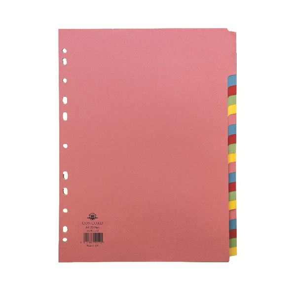 Concord Subject Divider 20-Part A4 Assorted 74099/J40