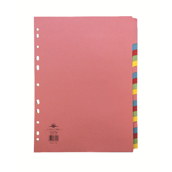 Concord Pastel A4 20-Part Subject Divider 74499/J44
