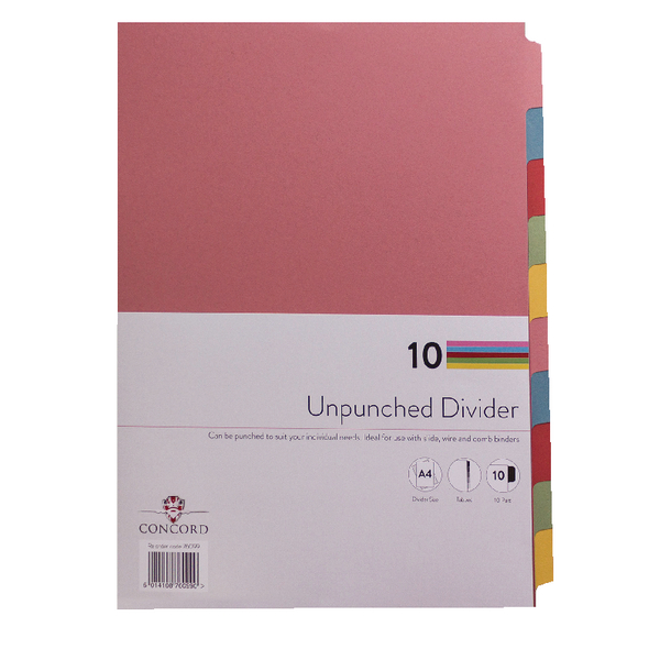 Concord A4 Unpunched 10-Part Presentation Divider (Pack of 10) 76099